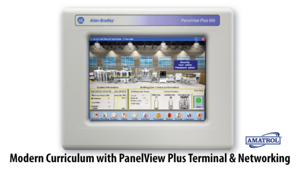 Designed to teach modern PLCs as they are used today, with the PanelView Plus terminal and networking